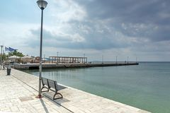Panorama van haven van Nikiti bij Sithonia-schiereiland, Chalkidiki, Cent Royalty-vrije Stock Foto's