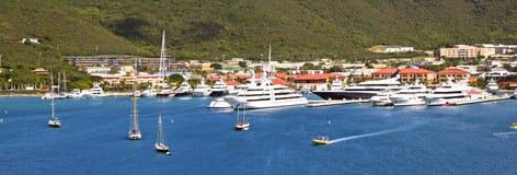 Panorama van haven in St Thomas, de Maagdelijke eilanden van de V.S. Stock Foto