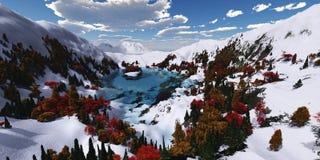 Panorama van het berglandschap Stock Foto