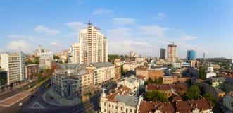 Panorama van het centrum van de kyivstad, bedrijfscityscape van Kiev, de Oekraïne Oude en moderne architectuur in hoofdstad van Stock Afbeeldingen