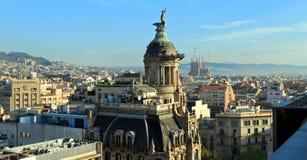Panorama van het centrum van Barcelona spanje Stock Foto's