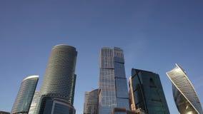 Panorama van het financiële district van de stad Mooie wolkenkrabbers stock footage
