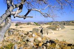 Panorama van het Grote Plein in Monte Alban, Oaxaca royalty-vrije stock foto's