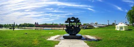 Panorama van het historische centrum van Veliky Novgorod Royalty-vrije Stock Fotografie