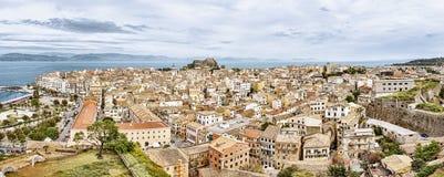 Panorama van het kapitaal van Korfu, Griekenland stock afbeeldingen
