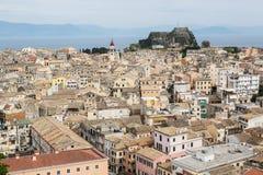 Panorama van het kapitaal van Korfu, Griekenland royalty-vrije stock foto's