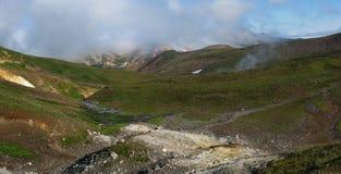 Panorama van het landschap van Kamchatka (Rusland) Stock Fotografie