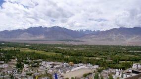 Panorama van het majestueuze Himalayagebergte met groen bij de uitlopers Royalty-vrije Stock Fotografie