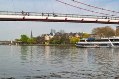 Panorama van het Museum Riverbank, de dijk aan het zuiden van de Belangrijkste Rivier Frankfurt, Duitsland - April 1 2014 Royalty-vrije Stock Foto's