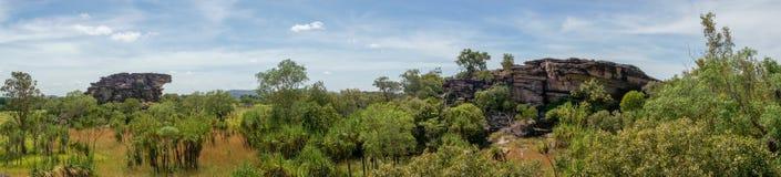 panorama van het Nadab-Vooruitzicht in ubirr, kakadu nationaal park - Australië stock afbeelding