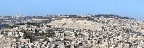 Panorama van het Onderstel van Olijven in Jeruzalem, Israël Stock Foto