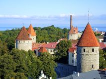 Panorama van het oude deel van Tallinn royalty-vrije stock afbeelding