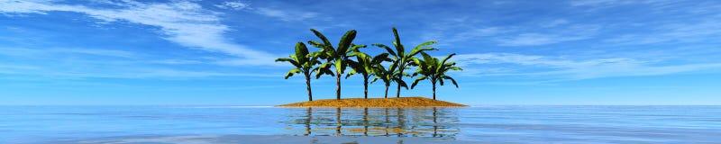 Panorama van het overzees Eiland palmen stock afbeeldingen