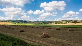 Panorama van het platteland in Coriano, Emilia Romagna-platteland, Italië royalty-vrije stock foto