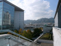 Panorama van het Prefectural Museum van Hyogo van Kunst, Kobe, Japan Stock Foto
