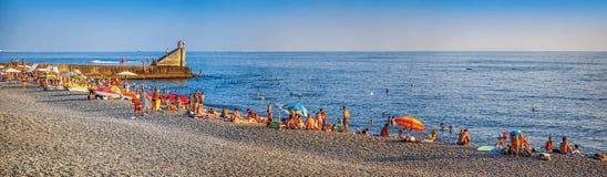 Panorama van het strand van Phasotron Sotchi, Rusland stock foto's