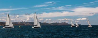 Panorama van het varen regatta in het Egeïsche Overzees royalty-vrije stock fotografie