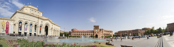 Panorama van het Vierkant van de Republiek Yerevan, Armenië 17 augustus, 2016 Stock Foto