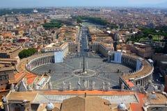 Panorama van het Vierkant van Heilige Peters in Rome Royalty-vrije Stock Fotografie