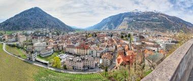 Panorama van historische Chur, Zwitserland Stock Afbeelding