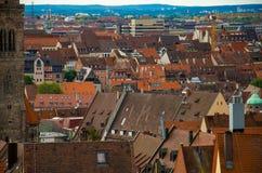 Panorama van historische oude stad van Nuremberg Nurnberg, Germa royalty-vrije stock afbeelding