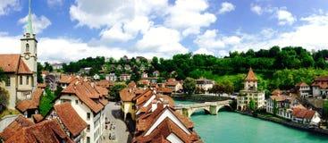 Panorama van historische oude stadsstad Bern Stock Fotografie