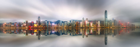 Panorama van Hong Kong en Financieel district Stock Afbeelding
