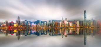 Panorama van Hong Kong en Financieel district Royalty-vrije Stock Foto's