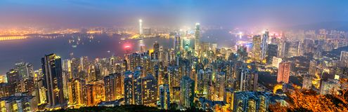 Panorama van Hong Kong Island in de avond, China stock fotografie