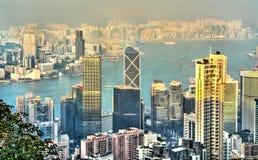 Panorama van Hong Kong Island in de avond, China royalty-vrije stock foto's