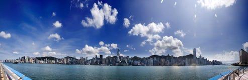 Panorama van Hongkong stock foto's