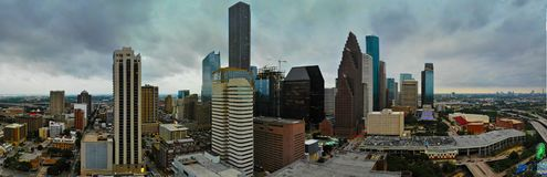 Panorama van Houston Downtown royalty-vrije stock foto's