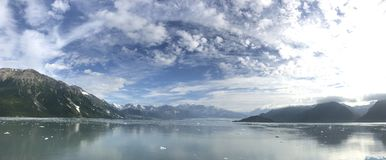 Panorama van Hubbard-Gletsjer, Alaska stock foto