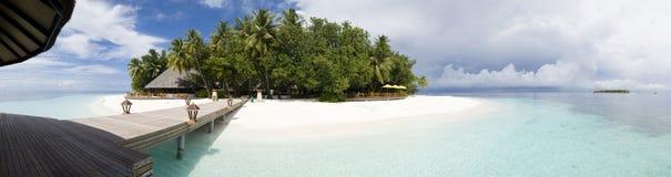 Panorama van Ihuru Eiland de Maldiven Stock Afbeeldingen
