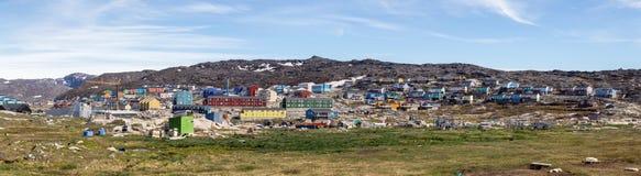 Panorama van Ilulissat, Groenland royalty-vrije stock afbeelding
