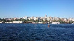 Panorama van Istanboel Panoramacityscape van beroemd de Straatkanaal van Bosphorus van de toeristenbestemming Reislandschap Bospo royalty-vrije stock fotografie