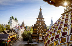 Panorama van Izmailovsky het Kremlin in Moskou, Rusland royalty-vrije stock afbeelding