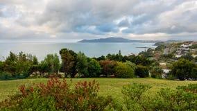 Panorama van Kabelbaai en Mangonui in Nieuw Zeeland stock afbeeldingen