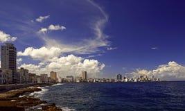 Panorama van kade van Havana Stock Foto