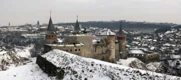 Panorama van Kasteel kamyanets-Podilsky Royalty-vrije Stock Foto's
