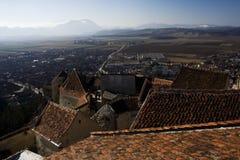 Panorama van kasteel Rasnov - Roemenië royalty-vrije stock foto