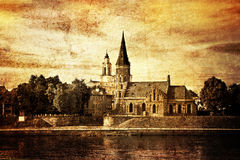Panorama van Kaunas van Aleksotas-heuvel, Litouwen Royalty-vrije Stock Fotografie