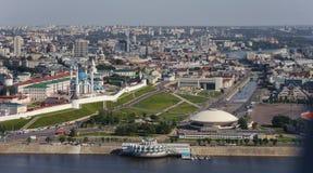 Panorama van Kazan in de lucht Stock Fotografie