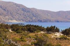 Panorama van Kedrodasos-strand, Eiland Kreta stock fotografie