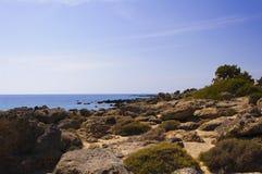 Panorama van Kedrodasos-strand, Eiland Kreta Royalty-vrije Stock Afbeeldingen