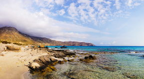 Panorama van Kedrodasos-strand, Eiland Kreta royalty-vrije stock foto