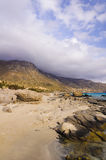 Panorama van Kedrodasos-strand, Eiland Kreta stock foto