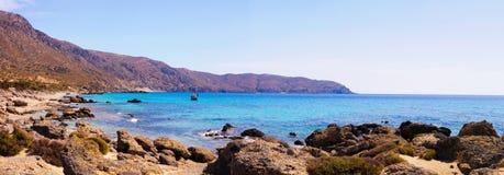 Panorama van Kedrodasos-strand, Eiland Kreta stock afbeeldingen