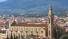 Panorama van Kerk van Heilig Kruis in Florence royalty-vrije stock foto's