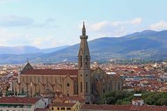 Panorama van Kerk van Heilig Kruis in Florence geroepen Chiesa royalty-vrije stock foto